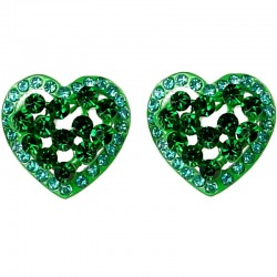 Chic Fashion Women Gift, Party Costume Jewellery, Bold Green Diamante Heart Large Stud Earrings