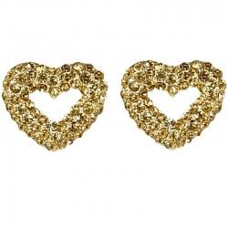 Dressy Costume Jewellery, Fashion Women Gift, Gold Diamante Open Heart Large Stud Earrings