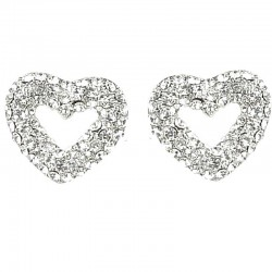 Classic Dressy Costume Jewellery, Women Girls Gift, Clear Diamante Open Heart Large Stud Earrings