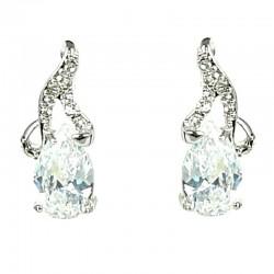 Clear Diamante Teardrop Dainty Drop Earrings