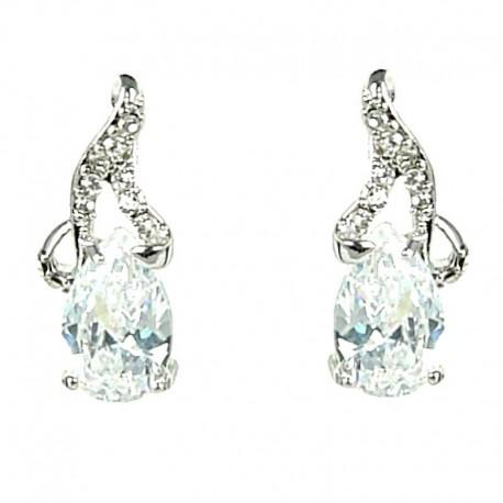 Small Dangle Costume Jewellery, Clear Diamante Teardrop Dainty Drop Earrings