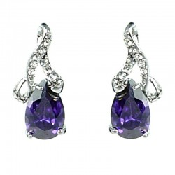 Simple Small Dangle Costume Jewellery, Clear Diamante Purple Teardrop Dainty Drop Earrings