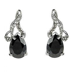 simple Small Dangle Costume Jewellery, Black Diamante Teardrop Dainty Drop Earrings