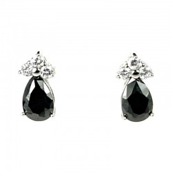 Small Tiny Little Costume Jewellery Dainty Earring Studs, Black Teardrop Diamante Stud Earrings