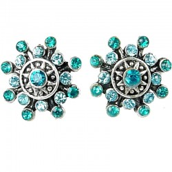 Bold Costume Jewellery Earring Studs, Fashion Women Girls Gift, Blue Diamante Twinkle Star Large Stud Earrings