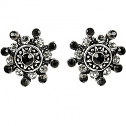 Bold Costume Jewellery Earring Studs, Fashion Women Girls Gift, Black Diamante Twinkle Star Large Stud Earrings