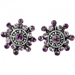 Bold Costume Jewellery Earring Studs, Fashion Women Girls Gift, Purple Diamante Twinkle Star Large Stud Earrings