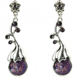 Fashion Women's Gift, Costume Jewellery, Purple Elegant Flower Teardrop Drop Earrings