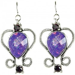 Chic Fashion Women Costume Jewellery Gift, Omega Purple Rhinestone Diamante Teardrop Dangle Earrings