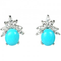 Natural Stone Costume Jewellery Earring Studs, Clear Teardrop Diamante Turquoise Cabochon Stud Earrings