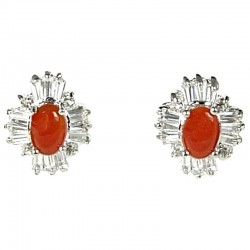 Natural Stone Costume Jewellery Earring Studs, Clear Cluster Diamante Red Agate Cabochon Stud Earrings