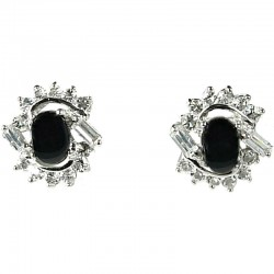Natural Stone Costume Jewellery Earring Studs, Clear Diamante Swirl Black Agate Cabochon Stud Earrings