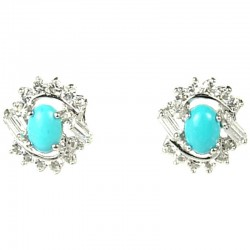Natural Stone Costume Jewellery Earring Studs, Clear Diamante Swirl Turquoise Cabochon Stud Earrings