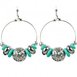 Ethnic Tribal Dangle Costume Jewellery, Fashion women Girls Gift, Turquoise Hoop-Loop Floral Ball Statement Drop Earrings