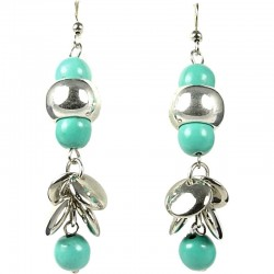 Ethnic Tribal Costume Jewellery, Fashion Women Gift, Bubble Turquoise Silver Disc Drop Earrings