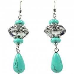 Natural Stone Costume Jewellery, Teardrop Turquoise Ethnic Tribal Bead Drop Earrings