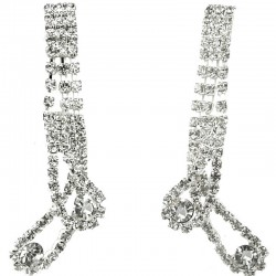 Bold Costume Jewellery, Wedding Gift, Clear Diamante Charming Teardrop Wave Statement Long Drop Earrings