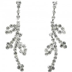 Chic Fashion Costume Jewellery, Wedding Gift, Clear Diamante Floral Long Dress Drop Earrings