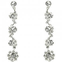 Dressy Costume Jewellery, Women's Gift, Fashion Clear Diamante Linear Drop Earrings