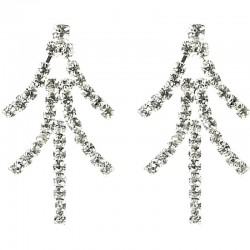 Clear Diamante Bling Chandelier Earrings
