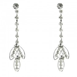 Bridal Drop Costume Jewellery, Wedding Gift, Fashion Clear Diamante Triple Teardrop Dangle Earrings
