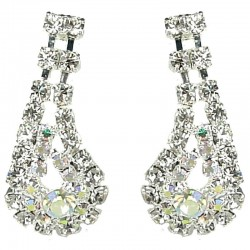 Dressy Costume Jewellery, Fashion Wedding Gift, Clear Diamante Beauty Teardrop Wave Drop Earrings