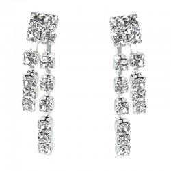 Fashion Costume Jewellery, women's Gift, Clear Diamante Simple Drop Earrings
