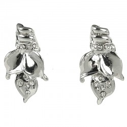 Fashion Costume Jewellery Bold Earring Studs, Clear Diamante Elegant Flower Blossom Large Stud Earrings