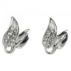 Fashion Chic Costume Jewellery, Women's Gift, Clear Diamante Elegant Forest Leaf Large Stud Earrings