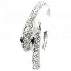 Clear Diamante Snake Cuff Bracelet Spring Bangle