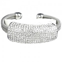 Clear Diamante Round Rectangle Cuff Bracelet Bangle