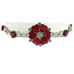 Women's Gift, Chic Costume Jewellery, Hot Burgundy Rhinestone Poppy Fashion Flower Bracelet