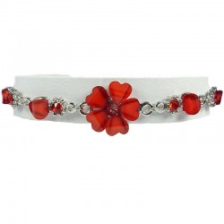 Women Costume Jewellery, Girls Gifts,Hot Red Rhinestone Hibiscus Fashion Flower Bracelet