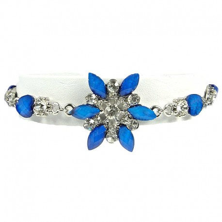 Women's Costume Jewellery, Royal Blue Rhinestone Iris Cristata Fashion Flower Bracelet