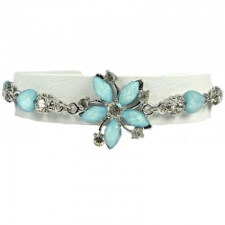 Young Women's costume Jewellery, Teen Girls Gift, Light Blue Rhinestone Hemerocallis Fashion Flower Bracelet