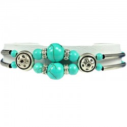 Natural Stone Costume Jewellery, Women Girls Gift, Chic Double Strand Twin Turquoise Stone Bead Ethnic Tribal Bracelet