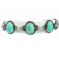 Fashion Natural Stone Costume Jewellery, Gift for Her, Women Girls, Oval Turquoise Cabochon Stone Ethnic Tribal Bracelet