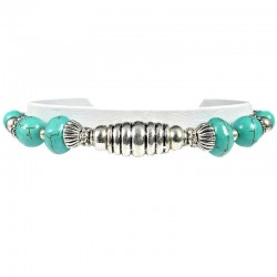Natural Stone Fashion Jewellery, Gift for Her Women Girls, Silver Olive Turquoise Bead Ethnic Tribal Bracelet