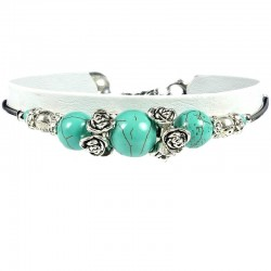 Fashion Natural Stone Costume Jewellery, Women's Girls Gift, Silver Cluster Rose Turquoise Bead Ethnic Tribal Bracelet
