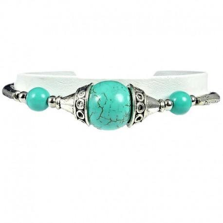 Natural Stone Costume Jewellery, Fashion Women Girls Birthday Gift, Silver Bead Cap Turquoise Ball Ethnic Tribal Bracelet