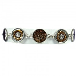 Trendy Young Women Costume Jewellery, Girls Gift, Chic Brown Enamel Disc Link Fashion Bracelet