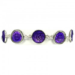 Trendy Young Women Costume Jewellery, Girls Gift, Purple Enamel Disc Link Fashion Bracelet
