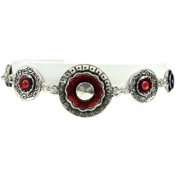 Red Enamel Double Circle Disc Link Fashion Bracelet