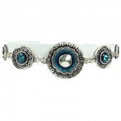 Aqua Blue Enamel Double Circle Disc Link Fashion Bracelet