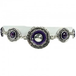 Purple Enamel Double Circle Disc Link Fashion Bracelet