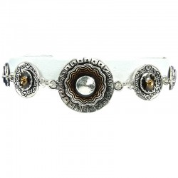 Brown Enamel Double Circle Disc Link Fashion Bracelet