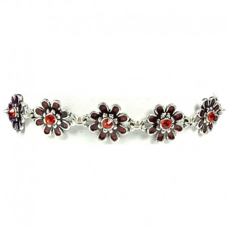Girls Costume Jewellery, Women's Gift, Red Enamel Daisy Flower Link Fashion Bracelet