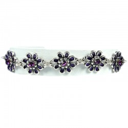 Girls Costume Jewellery, Young Women Gift, Purple Enamel Daisy Flower Link Fashion Bracelet