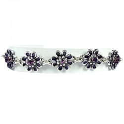 Purple Enamel Daisy Flower Link Fashion Bracelet
