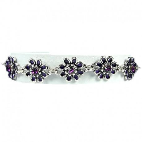 Girls Costume Jewellery, Young Women Gift, Purple Enamel Daisy Flower Link Fashion Bracelet